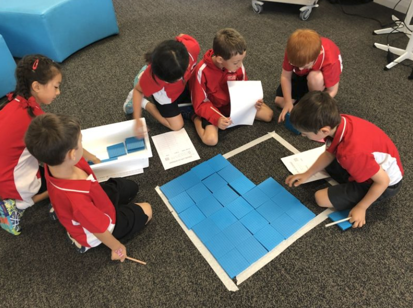 Students collaborating in a group