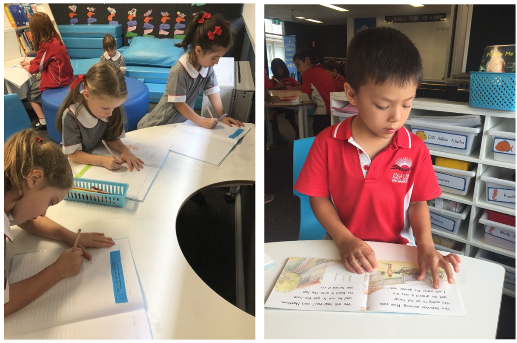 Students writing and reading